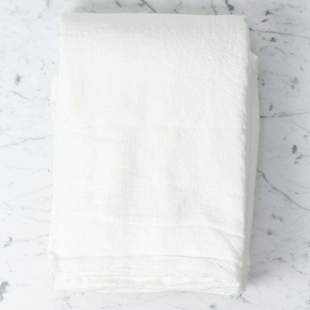 "Linge Particulier Washed French Linen Queen Duvet Cover with Mother of Pearl Button Closure - Off White - 86"" x 95"""