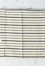 TENSIRA Handwoven Cotton Pillowcase - Button Closure - Off White with Bold Black Even Stripe - 24 x 24 in