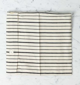 TENSIRA Handwoven Cotton Pillowcase - Button Closure - Off White with Bold Black Even Stripe - 24 x 24 in