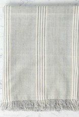 TENSIRA Handwoven Cotton Throw with Fringes - Grey + White Thick Stripe - 49 x 63 in