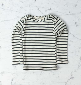 Mabo Kids Organic Cotton Long Sleeve Tee Shirt - Natural + Charcoal Stripe - 3 Month