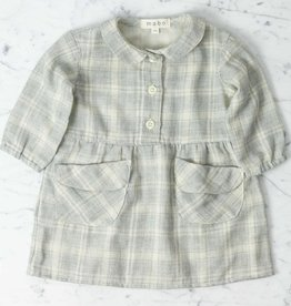 Mabo Kids Cotton Sojourner Dress - Grey Plaid - 12 Month