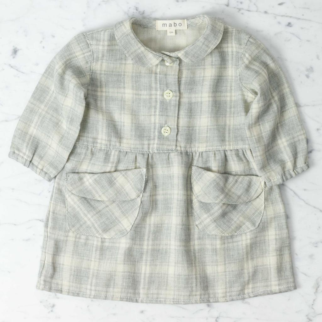 Mabo Kids Cotton Sojourner Dress - Grey Plaid - 12 Month