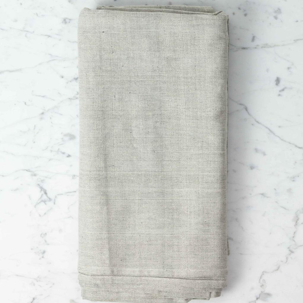 TENSIRA Handwoven Cotton Table Cloth - Pale Grey - 63 x 63 in