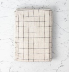 Japanese Grid Check Graph Bath Towel - Earl Grey