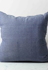 TENSIRA Handwoven Cotton Pillow with Down Insert - Off White + Navy Blue Skinny Stripe - 24 x 24 in
