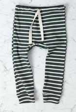 Mabo Kids Organic Cotton Leggings - Charcoal + Natural Stripe - 3 Month