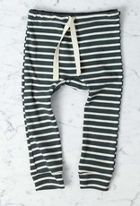 Mabo Kids Organic Cotton Leggings - Charcoal + Natural Stripe - 12 Month