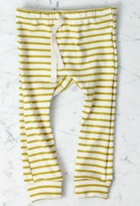 Mabo Kids Organic Cotton Leggings - Chartreuse + Natural Stripe - 3 Month