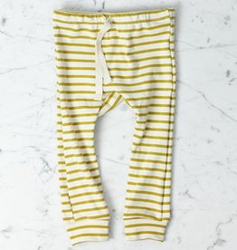 Mabo Kids Organic Cotton Leggings - Chartreuse + Natural Stripe - 12 Month