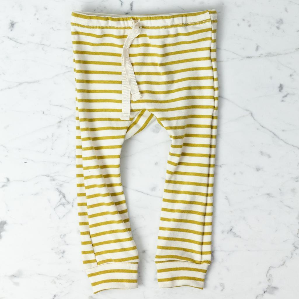 Mabo Kids Organic Cotton Leggings - Chartreuse + Natural Stripe - 12 Month