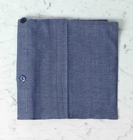 TENSIRA Handwoven Cotton Pillowcase - Button Closure - Off White + Navy Blue Skinny Stripe - 24 x 24 in