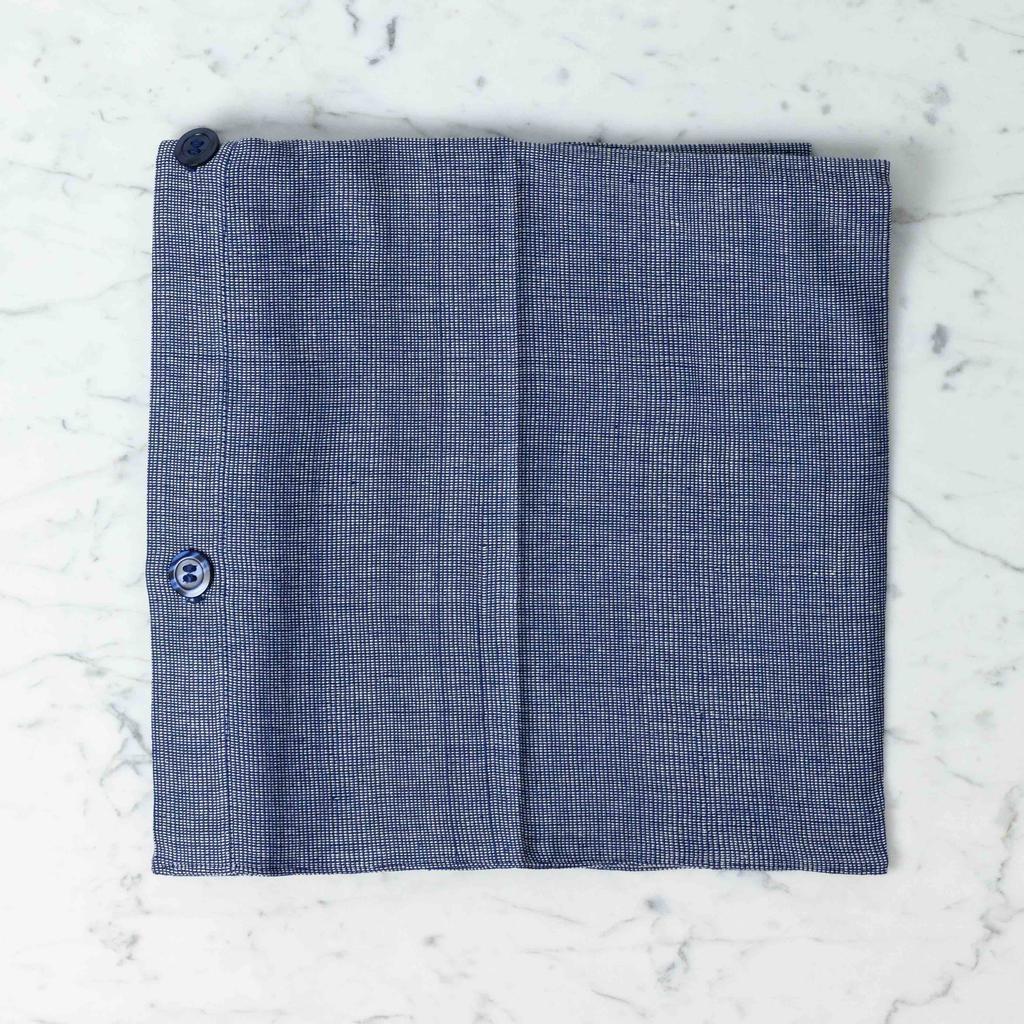 TENSIRA Handwoven Cotton Pillowcase - Button Closure - Off White + Navy Blue Skinny Stripe - 24 x 24 in