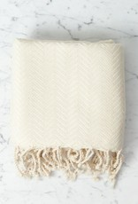 Thalassa Home Selene Herringbone Cotton Turkish Bath Towel - White - 38 x 66 in
