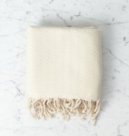 Thalassa Home Selene Herringbone Cotton Turkish Bath Towel - White - 38 x 66 in