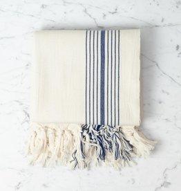 Thalassa Home Eos Cotton Turkish Towel or Throw - Cream with Navy Stripe - 40 x 75 in