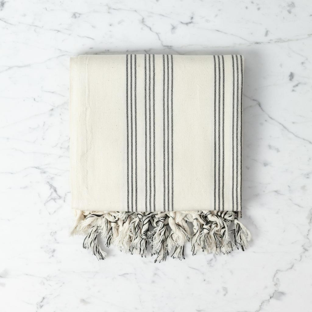 Thalassa Home Andros Cotton + Linen Turkish Towel or Throw - Cream with Black Triple Stripe - 38 x 65 in