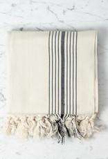 Thalassa Home Eos Cotton Turkish Towel or Throw - Cream with Black Stripe - 40 x 75 in