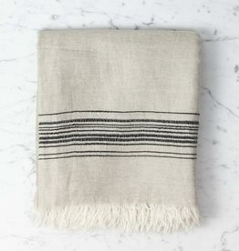Thalassa Home Hera Fine Turkish Linen + Cotton Bath Towel - Stone with Grey Stripe - 40 x 70 in