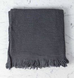 Thalassa Home Caria Soft Waffle Turkish Cotton + Bamboo Bath Towel - Charcoal - 32 x 60 in