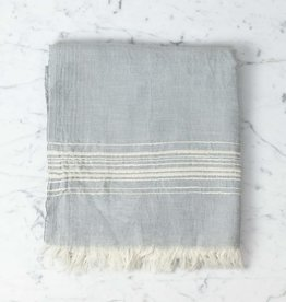 Thalassa Home Hera Fine Turkish Linen + Cotton Bath Towel - Grey with White Stripe - 40 x 70 in