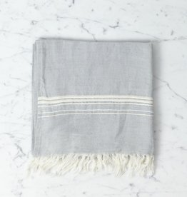 Thalassa Home Hera Fine Turkish Linen + Cotton Hand Towel - Grey with White Stripe - 18 x 36 in