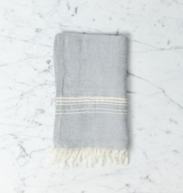 Thalassa Home Hera Fine Turkish Linen + Cotton Mini Towel - Grey with White Stripe - 12 x 20 in