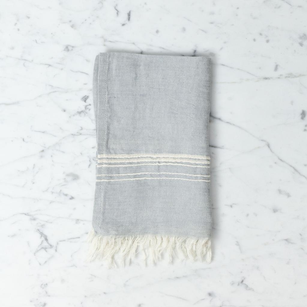 Thalassa Home Hera Fine Turkish Linen + Cotton Mini Towel - Grey with White Stripe - 12 x 20 in