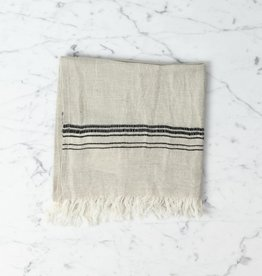 Thalassa Home Hera Fine Turkish Linen + Cotton Hand Towel - Stone with Grey Stripe - 18 x 36 in