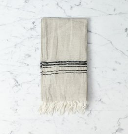 Thalassa Home Hera Fine Turkish Linen + Cotton Mini Towel - Stone with Grey Stripe - 12 x 20 in