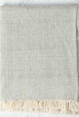 TENSIRA Handwoven Cotton Throw with Fringes - Pale Grey -  49 x 63 in