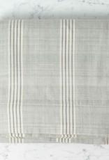 TENSIRA Handwoven Cotton Duvet Cover - Button Closure - Grey + White Thick Stripe - Full -79 x 79 in