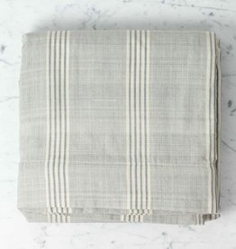 TENSIRA Handwoven Cotton Duvet Cover - Button Closure - Grey + White Thick Stripe - Full -79 x 79 in