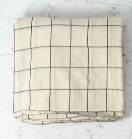 TENSIRA Handwoven Cotton Duvet Cover - Button Closure - Off White with Black Check - Full -79 x 79 in