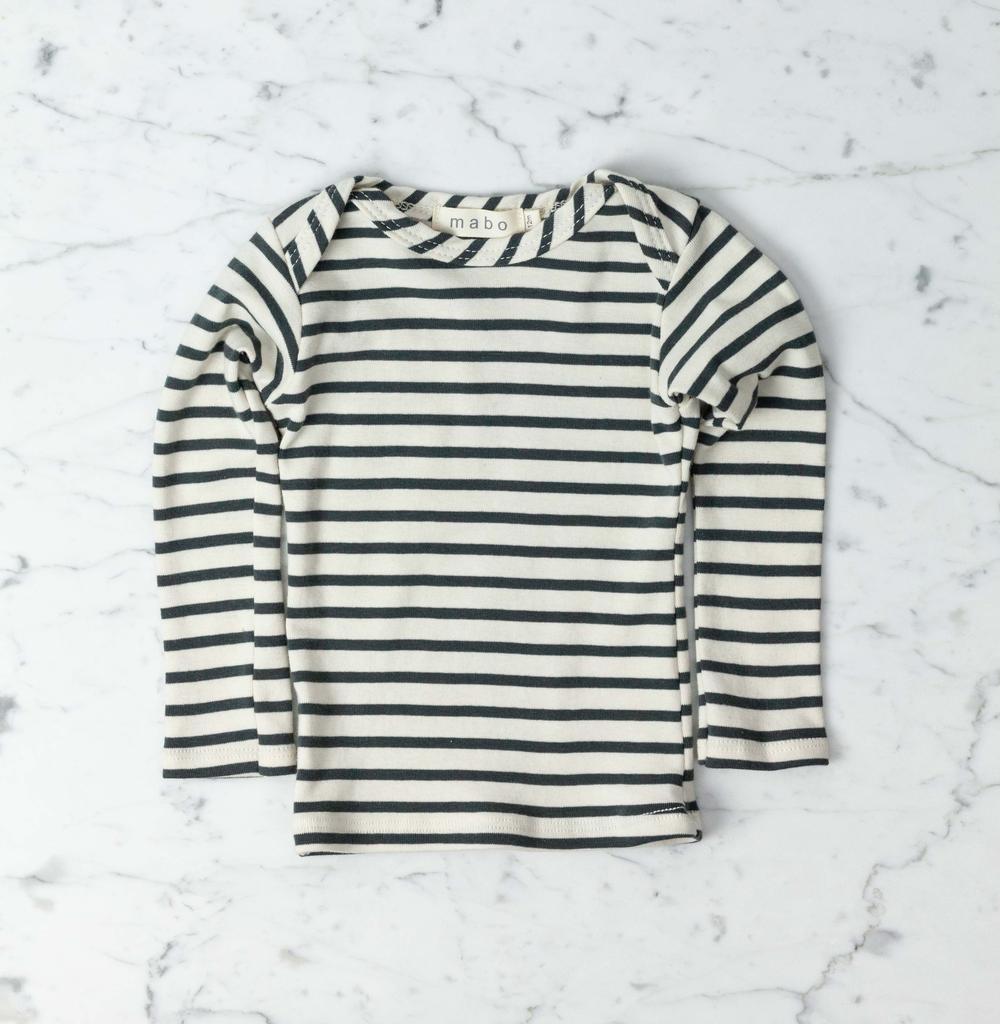 Mabo Kids Organic Cotton Long Sleeve Tee Shirt - Natural + Charcoal Stripe - 2/3 Year