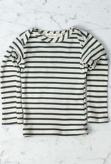 Mabo Kids Organic Cotton Long Sleeve Tee Shirt - Natural + Charcoal Stripe - 12 Month
