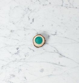 Beam Paints Natural Pigment Handmade Watercolor Paintstone - T'Queen'dmah'aande Shallow Water Green - Cedar Dish
