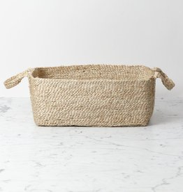 The Dharma Door Natural Low Jute Rectangle Basket with Handles