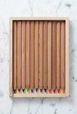 Mercurius Colored Pencils in Wooden Pencil Case - Set of  12