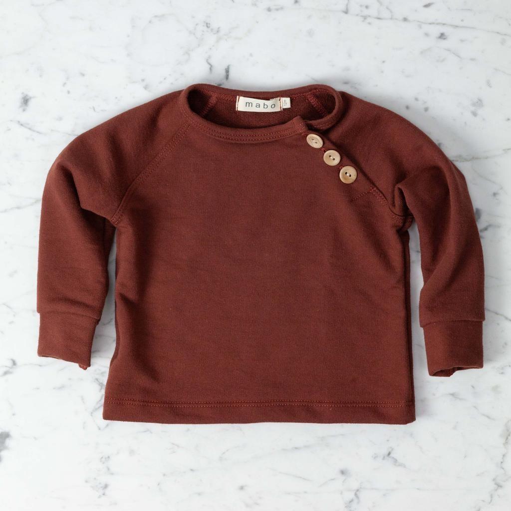 Mabo Kids Organic French Terry Sweatshirt - Chestnut - 12 Month