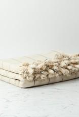 Thalassa Home Paros Turkish Cotton Bed Throw - White with Black Check - 82 x 98 in