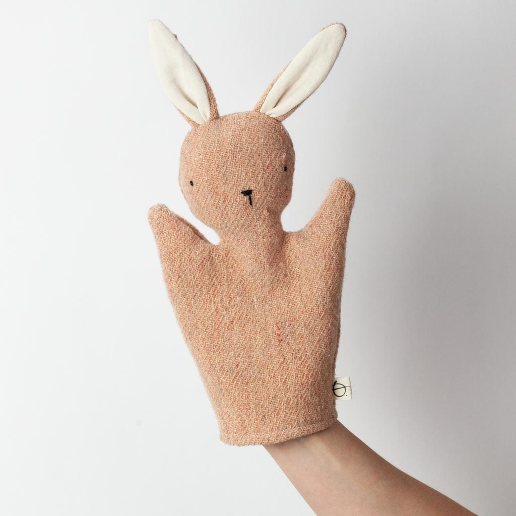 Ouistitine Handmade Bunny Hand Puppet - Champagne Pink