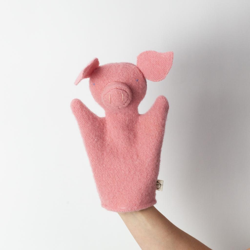 Ouistitine Handmade Pig Hand Puppet - Bright Pink