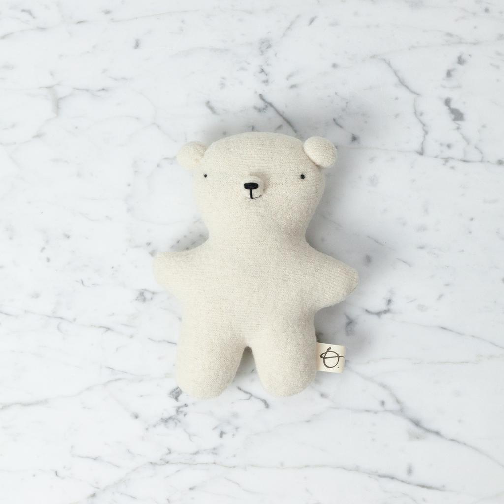 Ouistitine Handmade Wool Soft Gentle Bear - Cream White