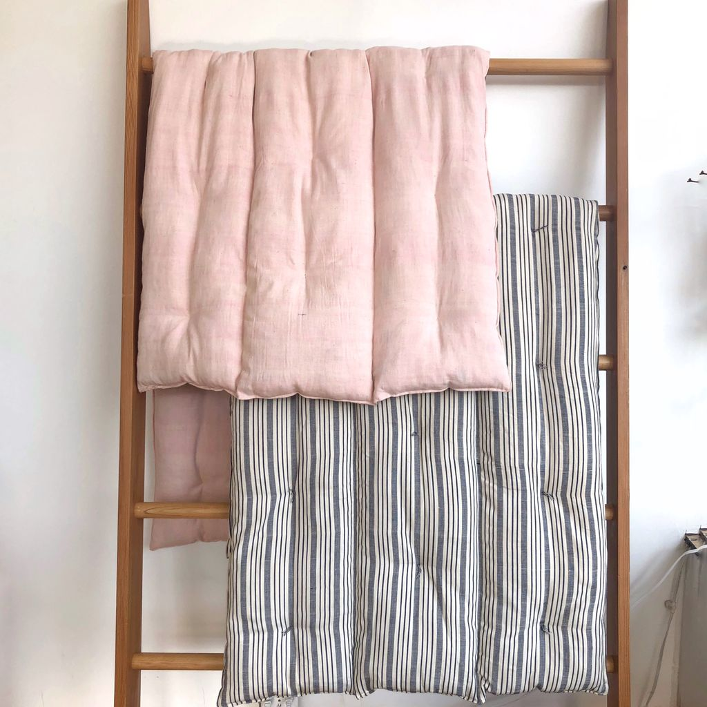 TENSIRA Handwoven Cotton Bedroll - Kapok Filling - Pale Pink - 36 x 75 in