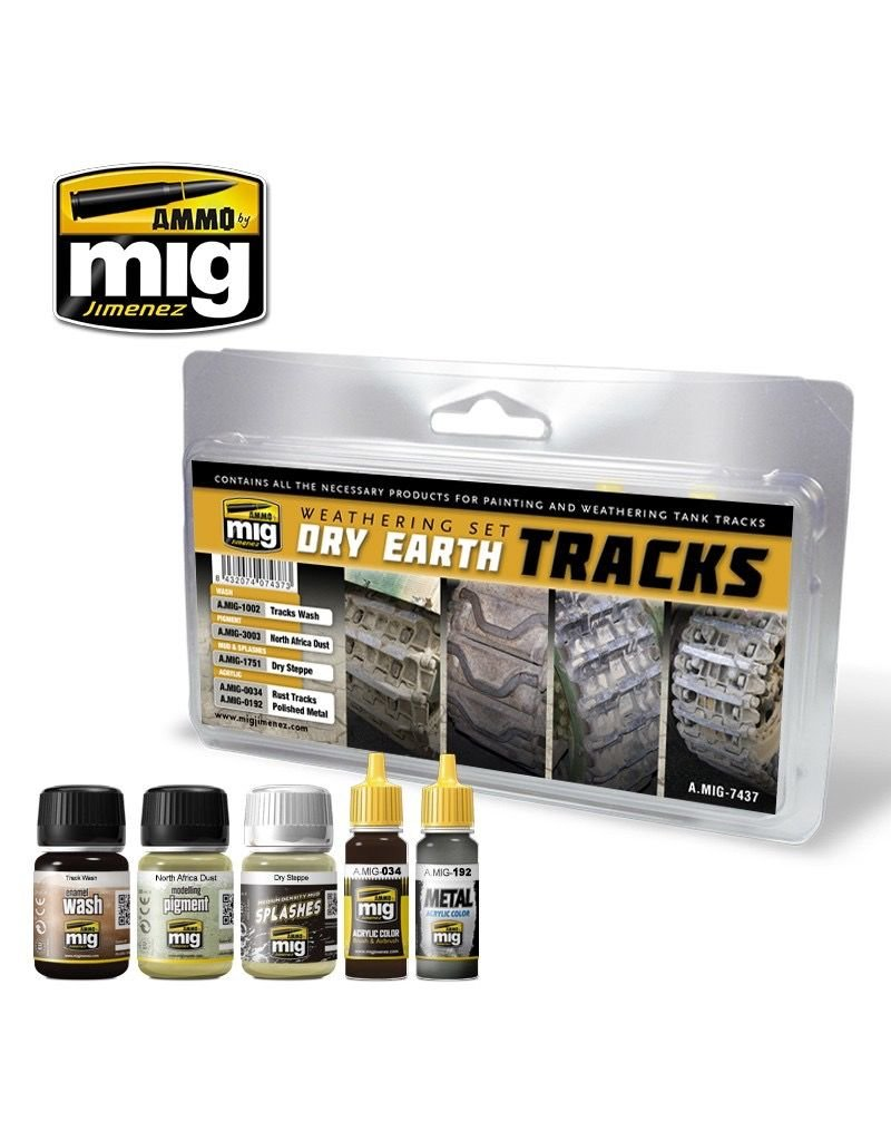 AMMO: of Mig Jimenez DIRECT A.MIG-7437 Dry Earth Tracks Weathering Set