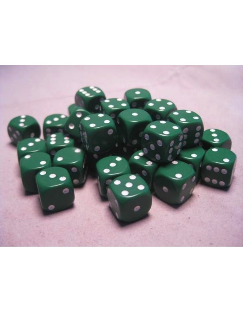 Chessex CHX25805 12mm d6 Opaque Green with White