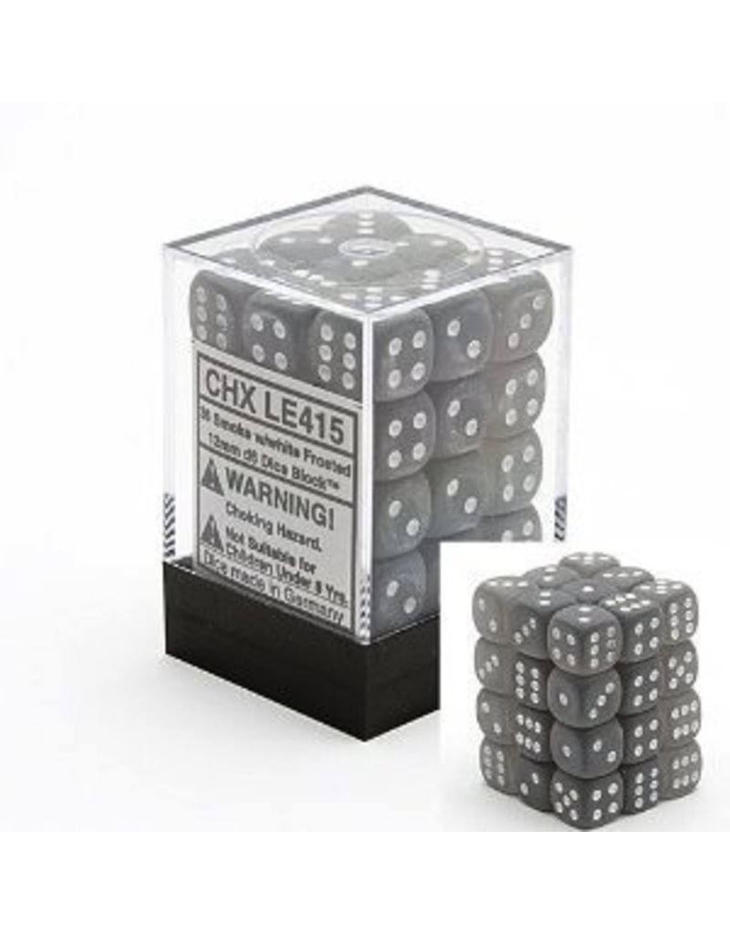 Chessex CHXLE415 12mm d6 Frosted Smoke with White