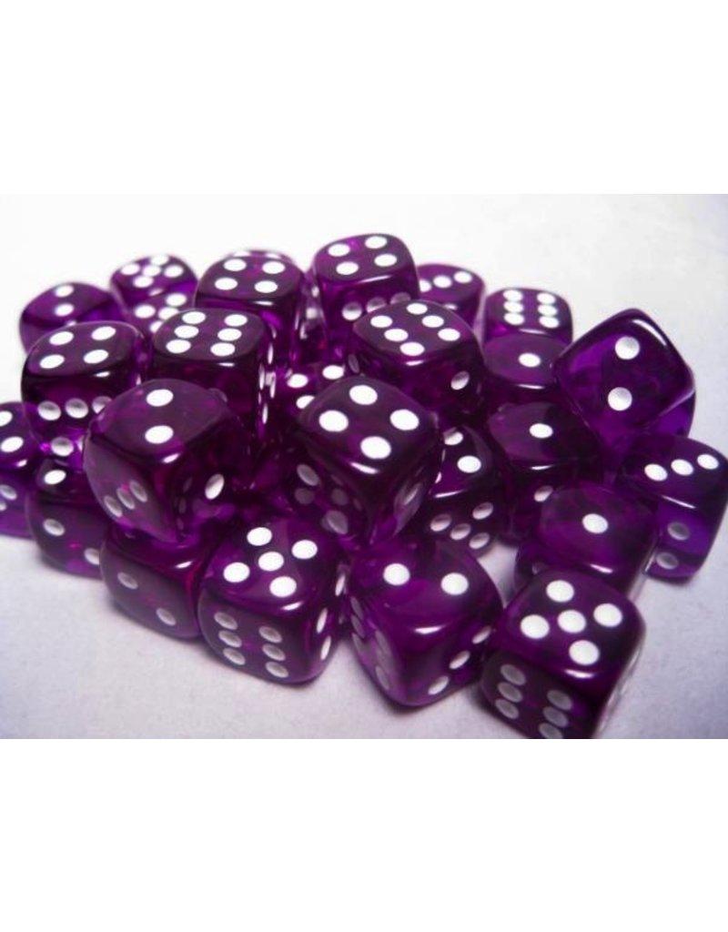 Chessex CHX23807 12mm d6 Translucent Purple with White