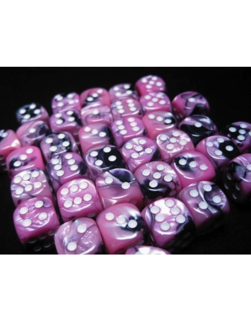 Chessex CHX26830 12mm d6 Gemini Black-Pink with White
